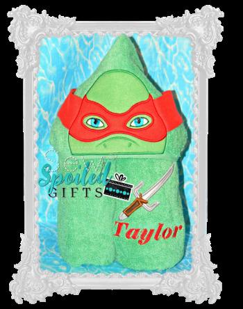 Green ninja hooded towel