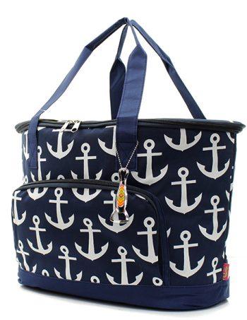 Navy Anchor Insulated Cooler shoulder Bag