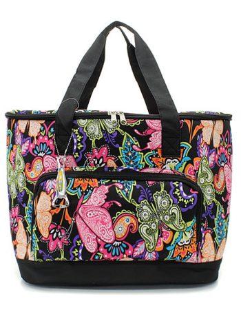 Black Butterfly Print Cooler Shoulder Bag Gift