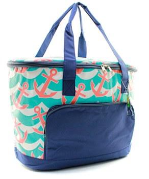 Aqua/ Coral Anchor Insulated Cooler Shoulder Bag Gift